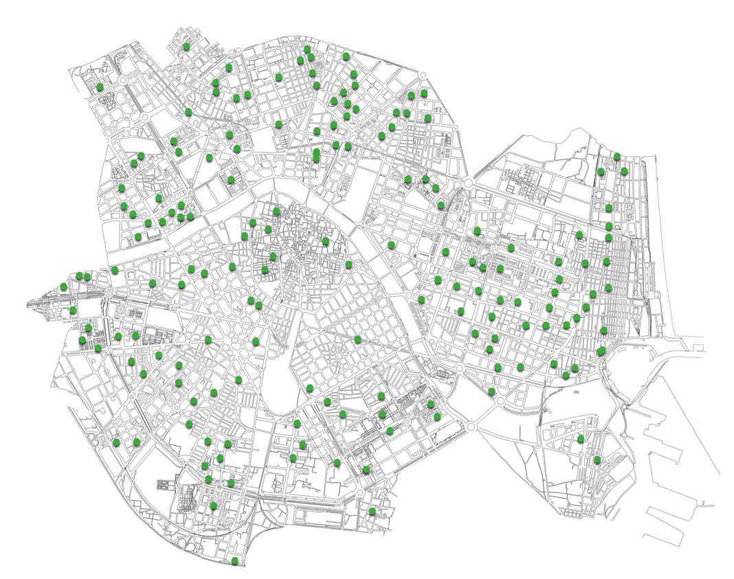 Mapa Valecnia parcs de barri